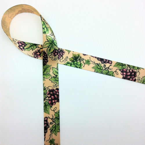 "Grapes and grape leaves on the vine on 5/8"" raw silk ribbon makes a lovely accent to any grape themed gift!"