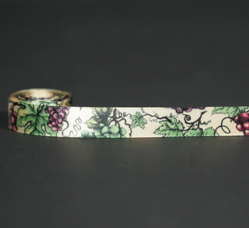 "Grapes Ribbon with grape leaves on 5/8"" raw silk single face satin, 10 Yards"