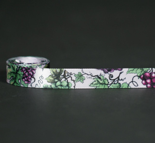 """Grapes Ribbon with grape leaves on 5/8"""" Light Orchid single face satin, 10 Yards"""