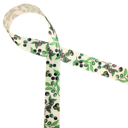 """Olives in deep purple and green on 5/8"""" antique white single face satin ribbon is an ideal accent to all your olive theme gifts!"""