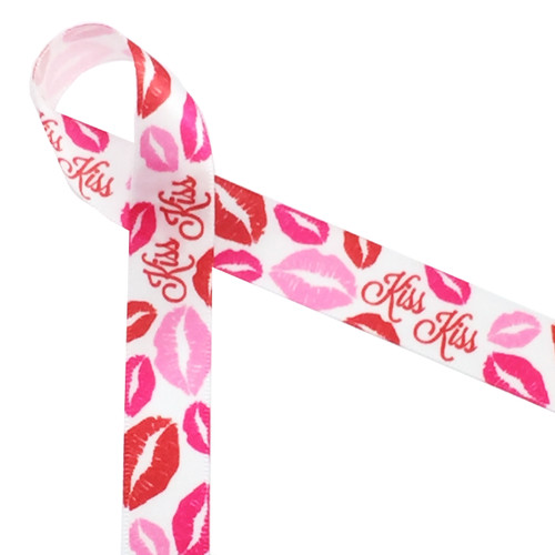 "Kiss Kiss! Red and pink lips on 5/8"" white single face satin ribbon makes for a playful Valentine expression! Designed and printed in the USA"