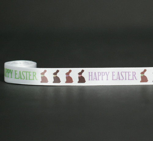"""Chocolate bunnies with cute pastel bows  followed by Happy Easter on 5/8""""  white satin ribbon is just the dressing needed for all your chocolate Easter treats!"""