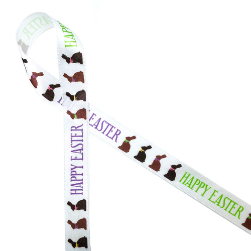 "Chocolate bunnies with cute pastel bows  followed by Happy Easter on 5/8""  white satin ribbon is just the dressing needed for all your chocolate Easter treats!"