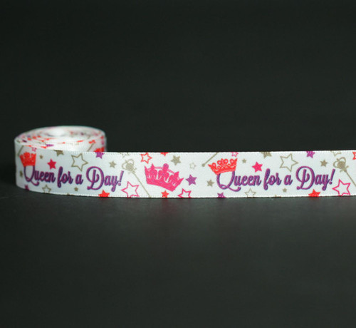 """Queen for a Day in purple with a pink crown and gold stars with a septer on 5/8"""" white satin ribbon will make Mom smile on her special day!"""