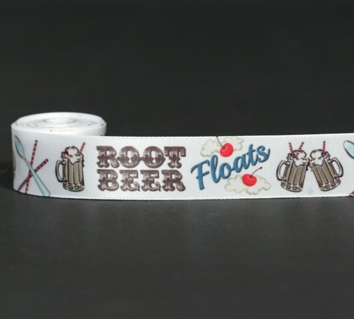 """Root Beer Floats in brown with maraschino cherries, striped straws and a long handled spoon will make a fun Father's Day or party theme. Tie this fun ribbon on favors and gifts! Printed on 7/8"""" white single face satin ribbon."""