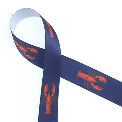 Red lobsters on a navy background are printed on white single face satin ribbon. Ideal for any nautical themed party!