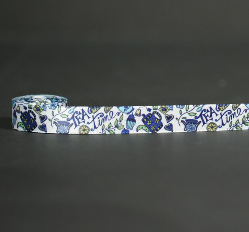 Tea time ribbon in shades of blue and yellow is a wonderful theme for Mother's Day or a bridal shower!