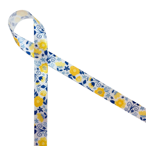 "Pretty flowers in yellow and blue on 5/8"" white satin ribbon is the perfect ribbon for Mom or a tea party themed bridal shower!"
