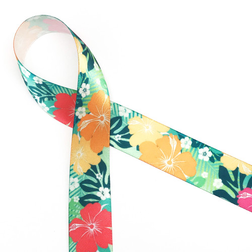 """Tropical Flower Ribbon with green background on 7/8"""" white Single face satin, 10 yards"""