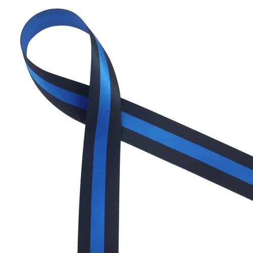 "Thin blue line ribbon is printed with black lines on 7/8"" Royal blue ribbon. These ribbons honor police officers fallen in the line of duty"