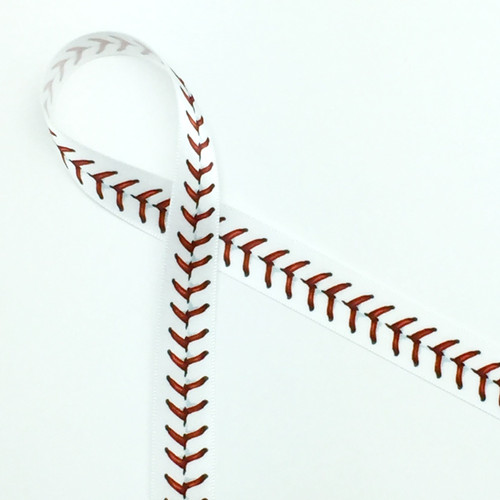 "Baseball stitching in red on 5/8"" white single face satin ribbon will make any baseball themed gift or favor a sure home run!"