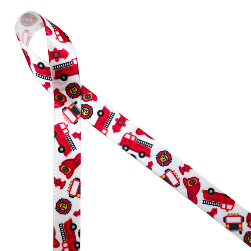 "Fire themed ribbon features fire trucks, fire hydrants, fire helmets and badges tossed on 5/8"" white single face satin ribbon. This is a perfect favor tie for birthday party or to celebrate your favorite fire fighter!"
