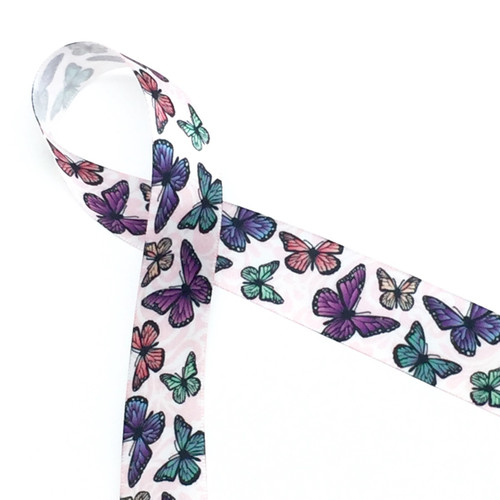 """Butterflies flutter along a pink damask background on a 7/8"""" white single face satin ribbon.  Giving a gift to a nature lover? This is the ideal ribbon!"""