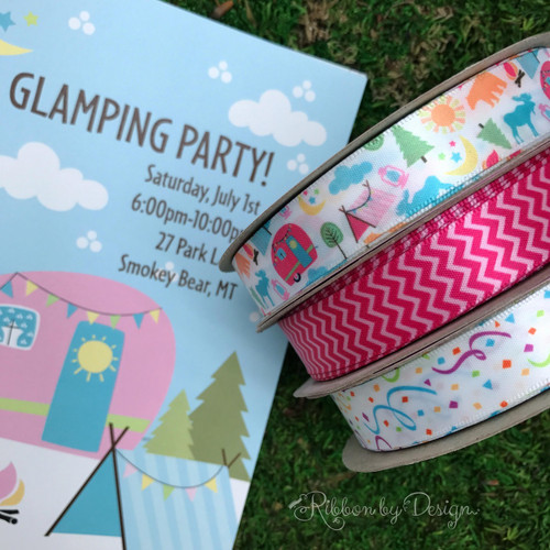 """Have a """"Glamping"""" party and add our fun ribbon to the favors to make the evening extra special!"""