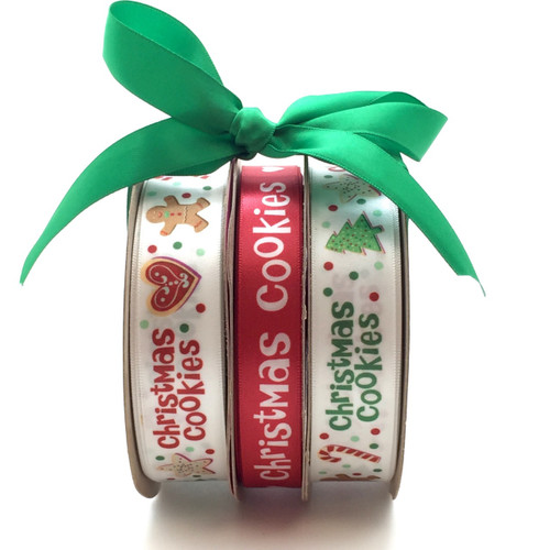 """Christmas Cookie Bundle pack including two spools of our 7/8"""" Christmas Cookie ribbon and one spool of our 5/8"""" Red ribbon with Christmas Cookies. All three are packaged at a special price!"""