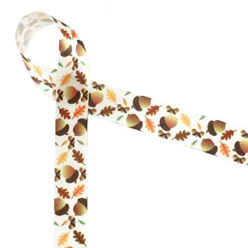 "Acorns tossed with colorful oak leaves on a 5/8"" antique white single face satin bring forth all the wonderful memories of Fall! Be sure to add this element of Autumn to your next Fall themed gift!"