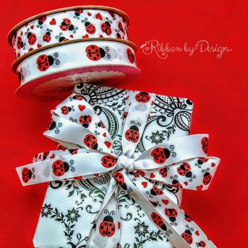 """Ladybugs Ribbon on 5/8"""" white single face satin, 10 Yards"""