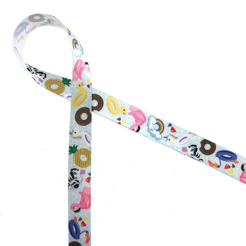 Pool float ribbon featuring flamingos, donuts, pineapples, zebras, yellow ducks unicorns and rainbows will make a big splash at your Summer pool party!