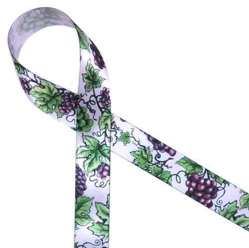 "Grapes and grape leaves printed on 7/8"" Lt. Orchid ribbon is perfect for any harvest or wine themed gifts!"