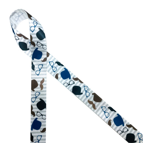 Dapper Dudes will love this fun ribbon with bowler hats, moustaches and eyeglasses tossed on a blue and white striped background.