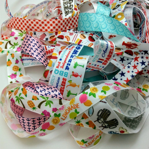 """Our Summer grab bag has a 20 yards of our best selling Summer ribbons in 5/8"""" and 7/8"""" widths all in 1 to 3 yard lengths. Perfect for small projects and gifts! Designed and printed in the USA"""
