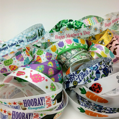 "Our Spring themed grab bag will help you welcome Spring with a breath of fresh air! Each bag contains a selection of Spring holiday ribbons along with some pretty pastel prints of 5/8"" and 7/8"" satin and grosgrain ribbons. Designed and printed in the USA"