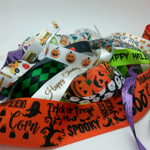 "Our Fall grab bag ribbons is full of our fun Halloween, Thanksgiving, pumpkins and falling leaves designs. Each bag contains 20 yards of our 5/8"" and 7/8"" satin and grosgrain ribbon for your Fall projects. Designed and printed in the USA"