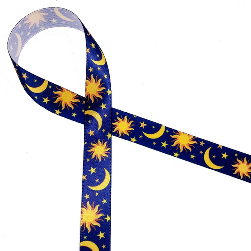 """The Sun, Moon and Stars on a midnight blue background printed on 5/8"""" white single face satin ribbon is a beautiful ribbon for the most thoughtful of friends."""