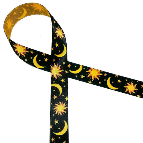 "The Sun, Moon and Stars on a black background printed on 5/8"" gold single face satin ribbon is a beautiful ribbon for the most thoughtful of friends."