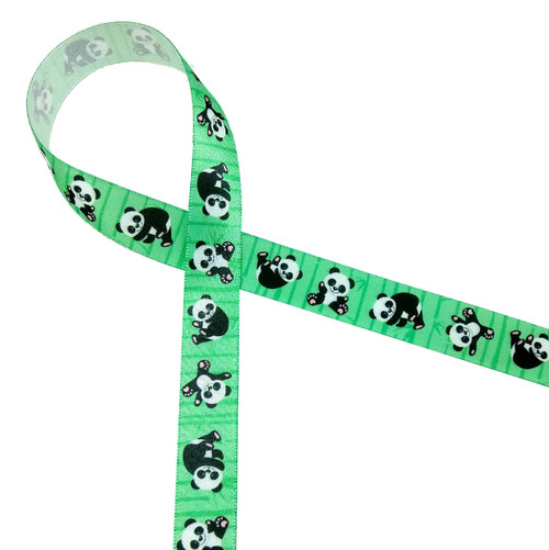 """Panda bears tumbling along on a green bamboo background are so much fun! Printed on  5/8"""" white single face satin, who wouldn't want to invite them to the party!"""