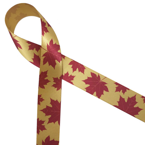 "Maple leaves in red on 7/8"" dijon gold single face satin ribbon is the ideal expression of Autumn!"