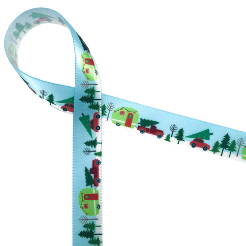 "Bringing home the tree featuring a little red pick up truck with a tree in the bed towing a Christmas camper! Printed on a blue background on 5/8""white single face satin, this ribbon will be the hit of the season!"