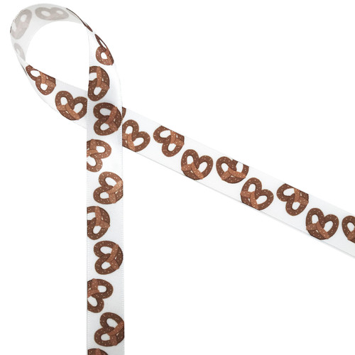 "Pretzels are a fun and health snack. Why not tie our 5/8"" pretzel ribbon on snack bags for movie night to make them extra special?"