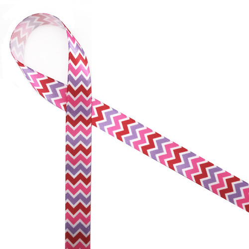 "Valentine chevron pattern feature red, pink and lavender on 5/8"" white single face satin! This fun ribbon is perfect for giving your Valentine's Day love!"