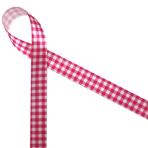 "Hot pink gingham check on 5/8"" white single face satin make for a beautiful staple in your ribbon collection! Be sure to have some on hand for Spring, Summer and any fun hot pink event!"