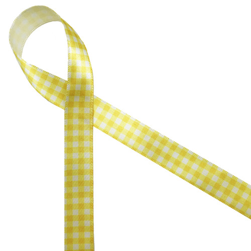 "Yellow gingham check printed on 5/8"" white single face satin ribbon is a fun Spring and Summer print! Perfect for any sunny occasion!"