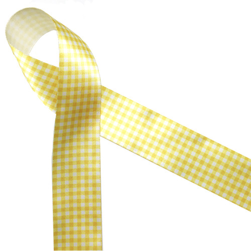 """Yellow gingham check printed on 1.5"""" white single face satin ribbon is a fun Spring and Summer print! Perfect for any sunny occasion!"""