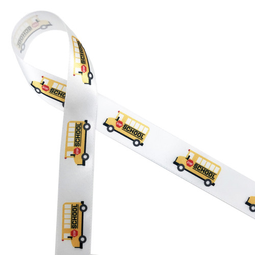 """School Buses ride in traditional yellow with a red stop sign ride along our 7/8"""" white satin ribbon adding the best little pop of fun to any school themed gift or party!"""