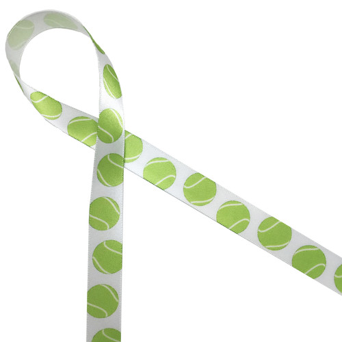 "Tennis balls bouncing along 5/8"" white single face satin is the perfect ribbon for your tennis themed party!"