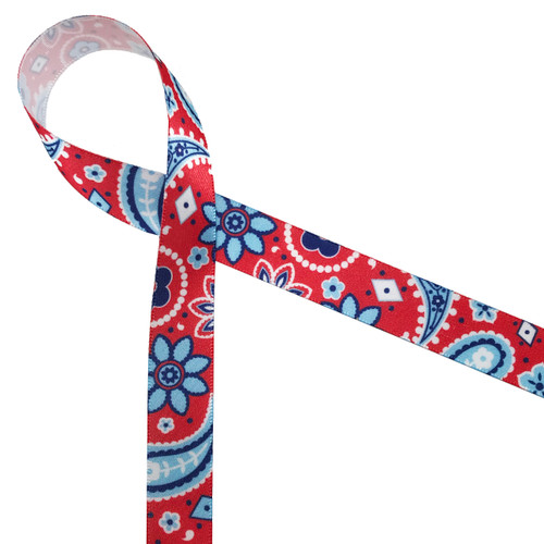 "Patriotic paisley in red white and blue makes such a pretty statement on any  USA themed party! Printed on 5/8"" white single face satin to tie a lovely soft bow!"