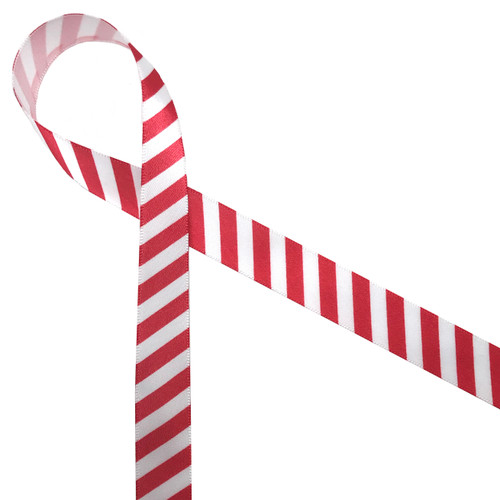 "Red stripes on 5/8""  white single face satin is a fun ribbon any time of year! Be sure to have this ribbon staple in your ribbon collection!"