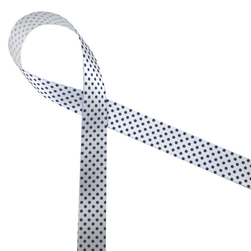 "Navy blue pin dots on 5/8""white single face satin is such an elegant little ribbon perfect for so many affairs!"