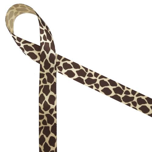 "Giraffe print on 5/8"" tan single face satin."