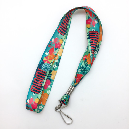 Bright, fun and cheery is our Miami themed lanyard! Perfect for carrying keys or employment ID's! Designed, printed and assembled in the USA