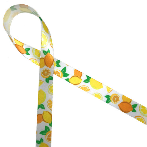 "Lemons in yellow and orange whole and sliced with green leaves are such a fun and happy addition  to any party! Ours is printed on 5/8"" white single face satin ribbon."