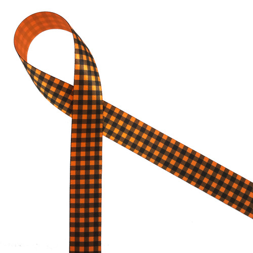"Black gingham check on 7/8"" tangerine single face satin ribbon is the ideal tie for all your Fall favors and projects!"