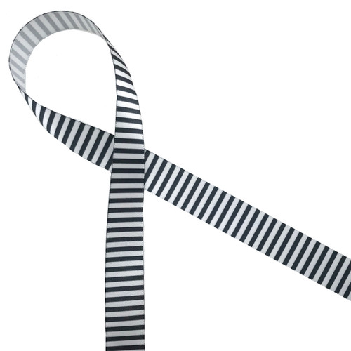 """Black and white pinstripes on 5/8"""" white single face satin is the such a classic! Tie this ribbon for Halloween,  Father's Day, Christmas and more!"""