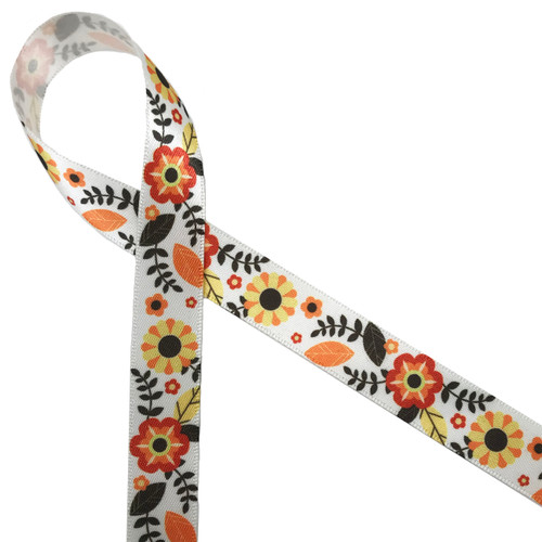 """Our lovely Fall floral design featuring all the colors of Autumn printed on 5/8"""" antique white double face satin is an ideal ribbon for all your Fall decorating needs."""