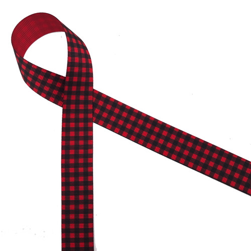 "Buffalo plaid ribbon in black on7/8"" red grosgrain ribbon makes a wonderful holiday gift wrap ribbon! Tie this bold design on any gift for the outdoors person in your life!"