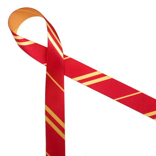 "Red and gold stripes of varying widths printed on 7/8"" gold single face satin is a wonderful addition to gifts, favors and party decor featuring the house of Gryffinndor."